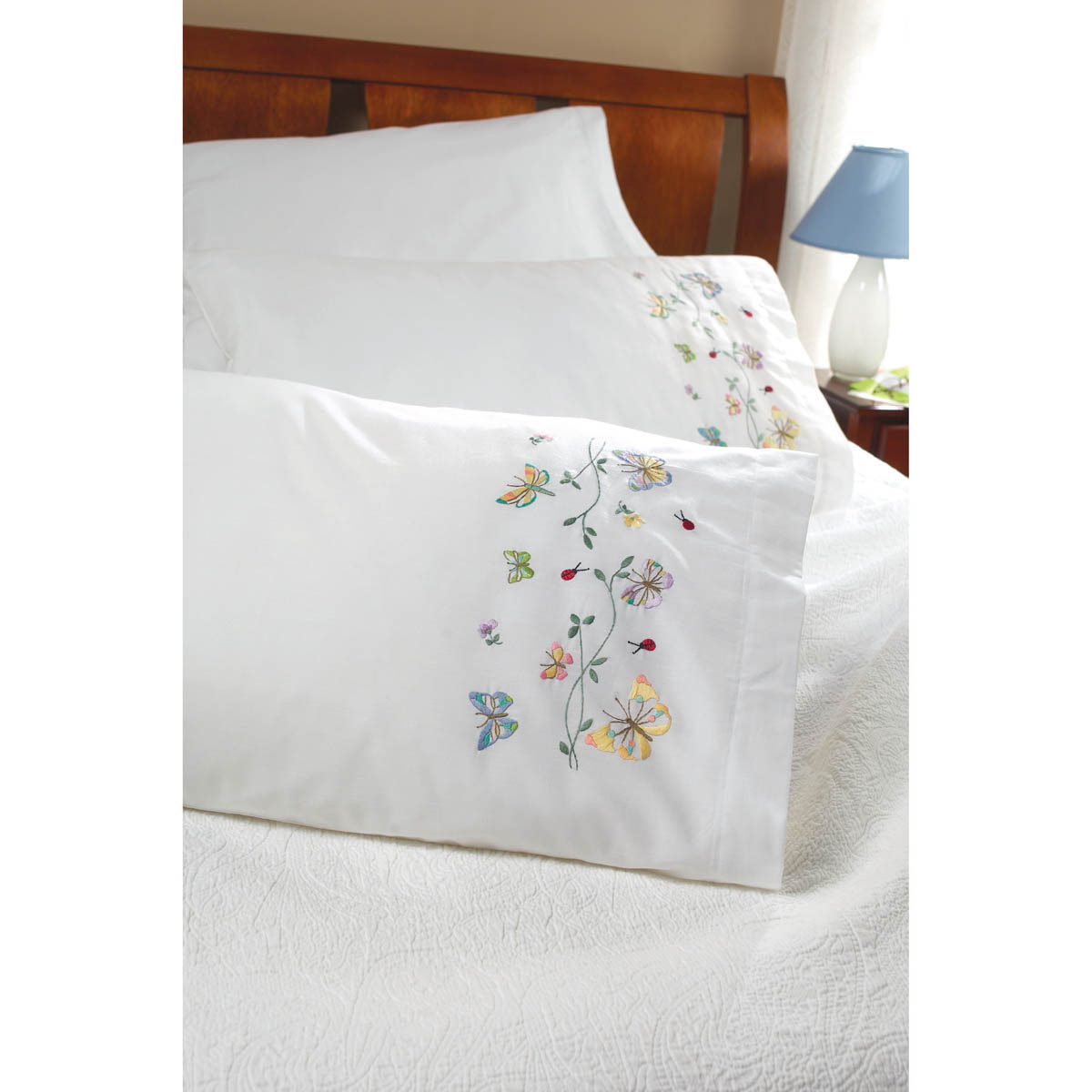 Bucilla ® Stamped Cross Stitch & Embroidery - Pillowcase Pairs - Butterflies in Flight - 45076