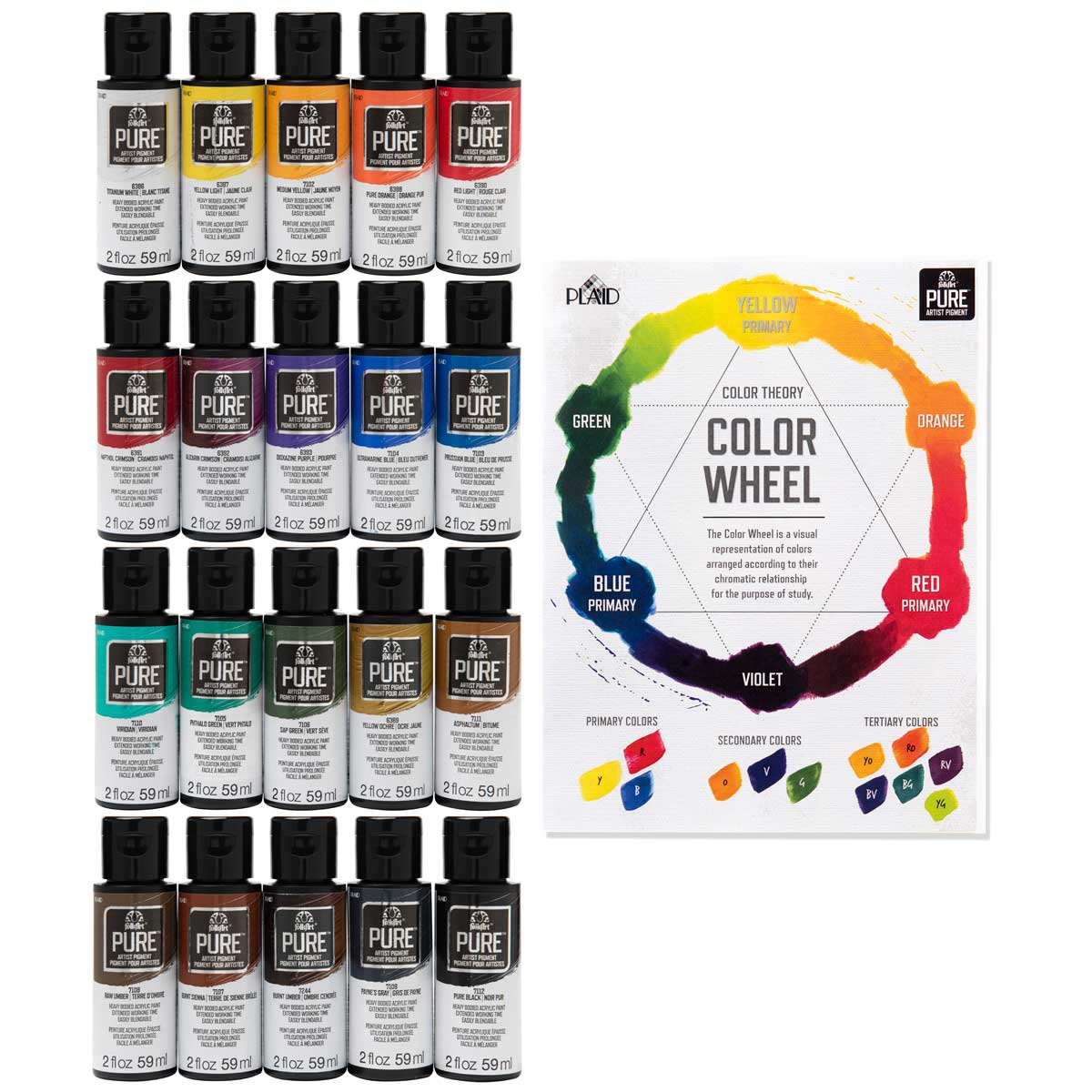 Let's Paint with FolkArt ® Pure™ Artist Pigment Paint and Color Theory Kit, 21 pc. - 99441