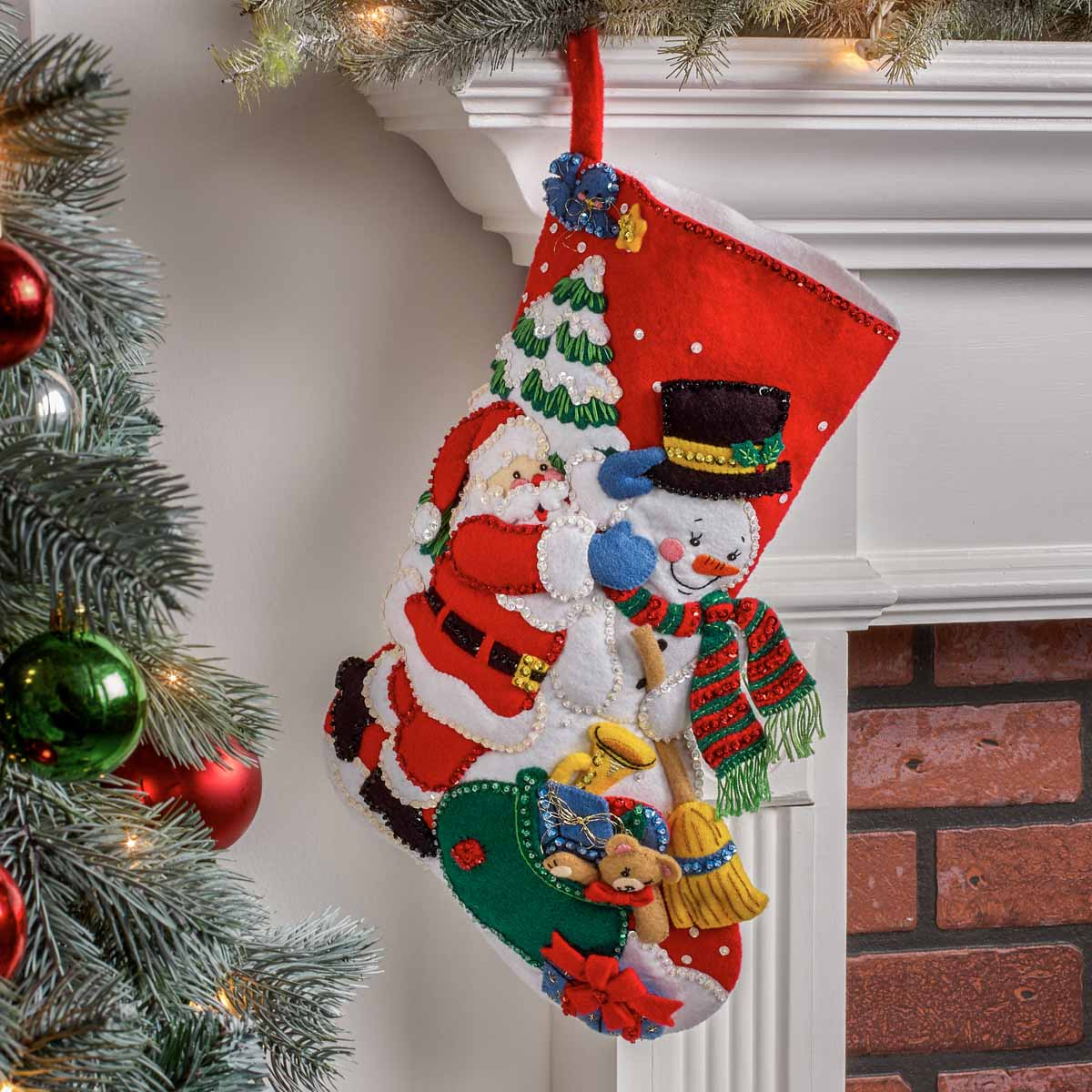 Bucilla ® Seasonal - Felt - Stocking Kits - Santa and a Winter Friend - 89247E