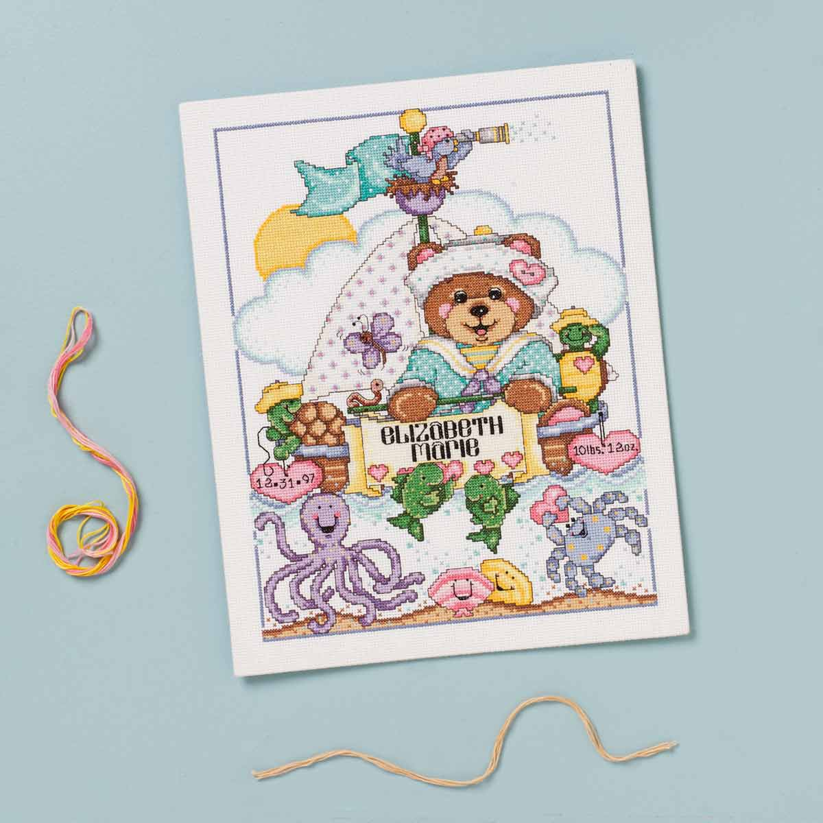 Bucilla ® Baby - Counted Cross Stitch - Crib Ensembles - Ships Ahoy - Birth Record Kit - 47786