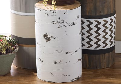 Faux Birch Log Table