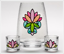 Lotus Blossom Hurricane and Votives