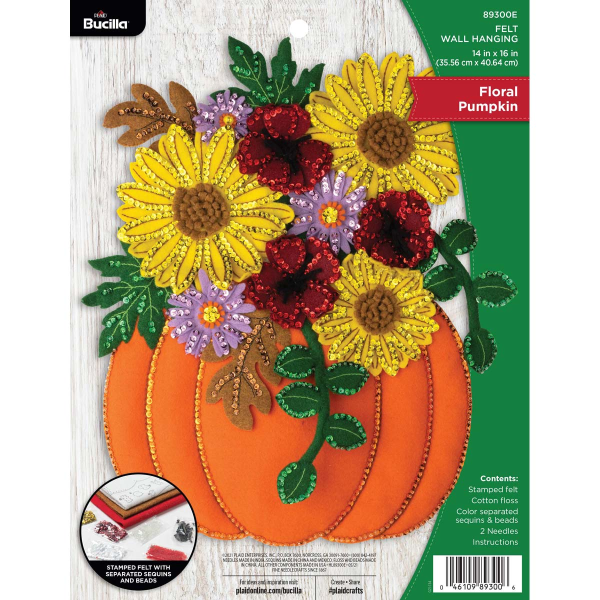 Bucilla ® Seasonal - Felt - Home Decor - Floral Pumpkin Wall Hanging - 89300E
