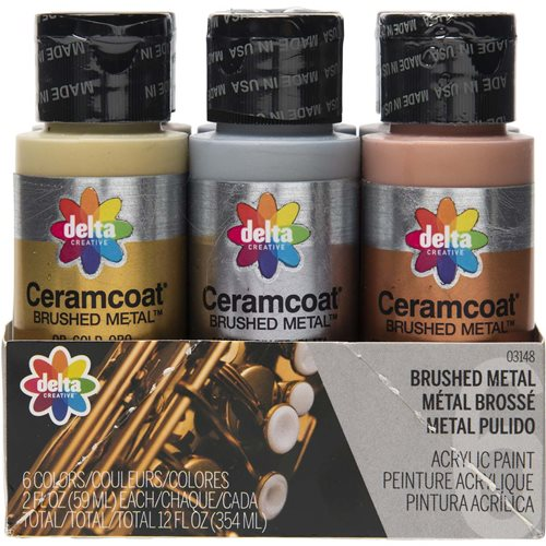 Delta Ceramcoat ® Paint Sets - Brushed Metal™, 6 Colors - 03148