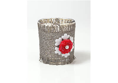 Burlap and Rose Candleholder