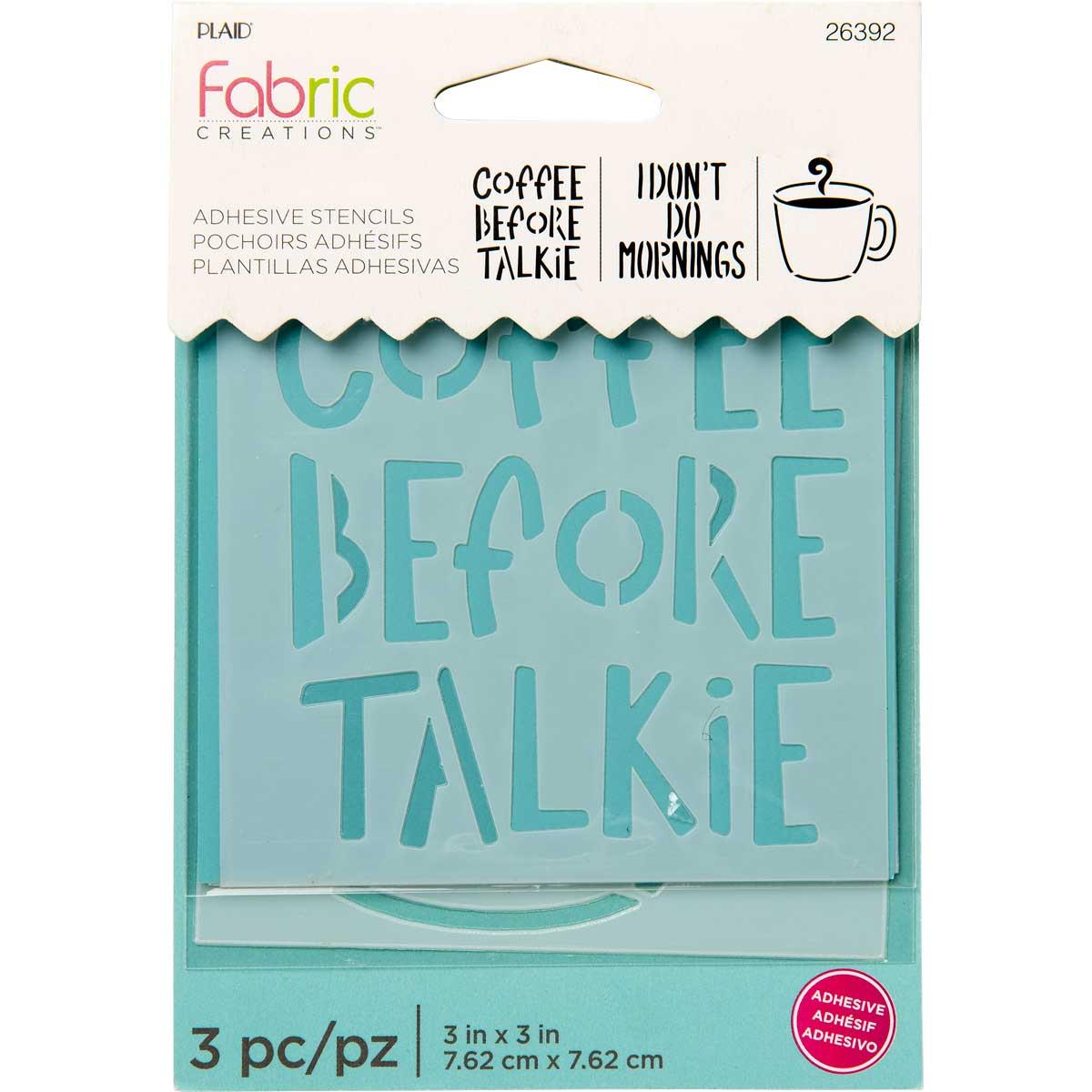 Fabric Creations™ Adhesive Stencils - Mini - Coffee, 3