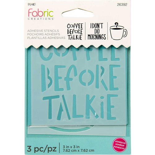 "Fabric Creations™ Adhesive Stencils - Mini - Coffee, 3"" x 3"" - 26392"