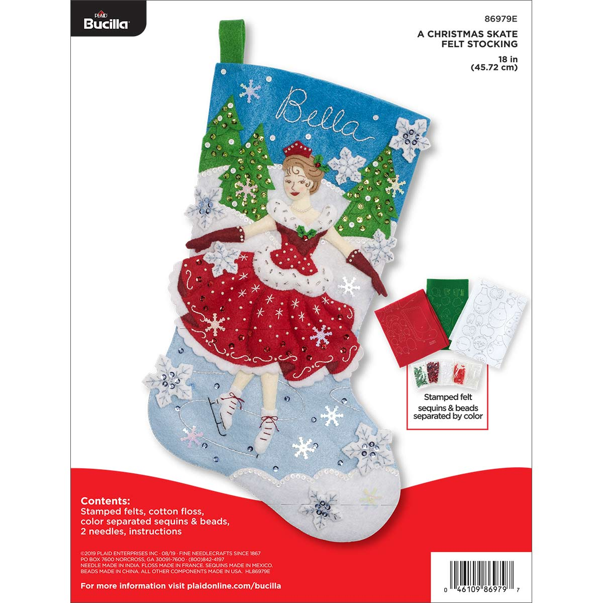 Bucilla ® Seasonal - Felt - Stocking Kits - A Christmas Skate - 86979E