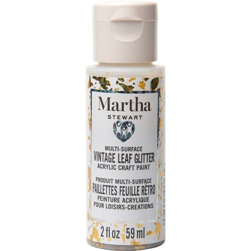 Martha Stewart ® Multi-Surface Vintage Leaf Glitter Acrylic Craft Paint CPSIA - Iridescent Gold, 2 o