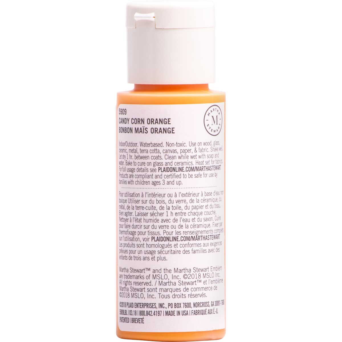 Martha Stewart ® Multi-Surface Satin Acrylic Craft Paint CPSIA - Candy Corn Orange, 2 oz. - 5909