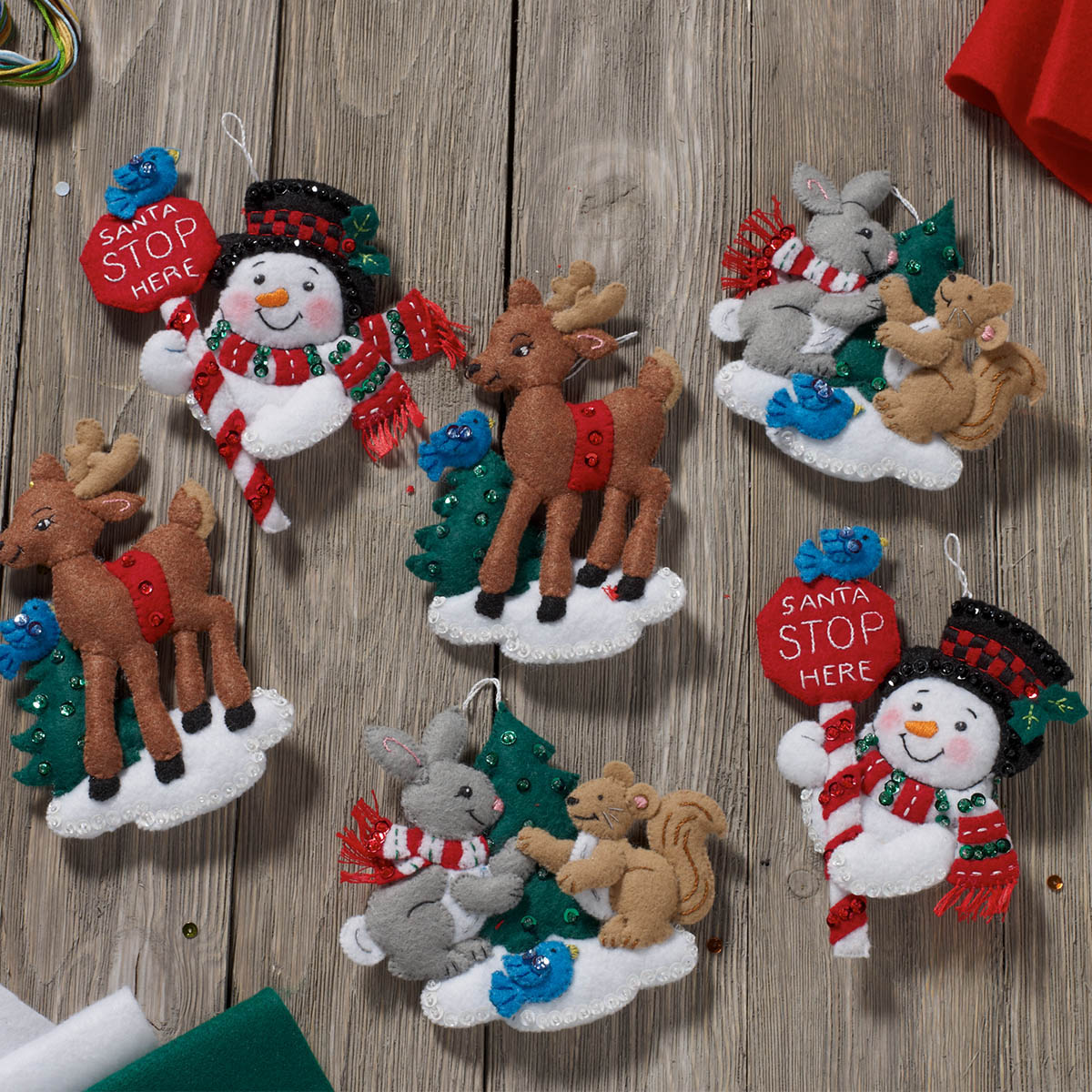 Bucilla ® Seasonal - Felt - Ornament Kits - Santa Stop Here