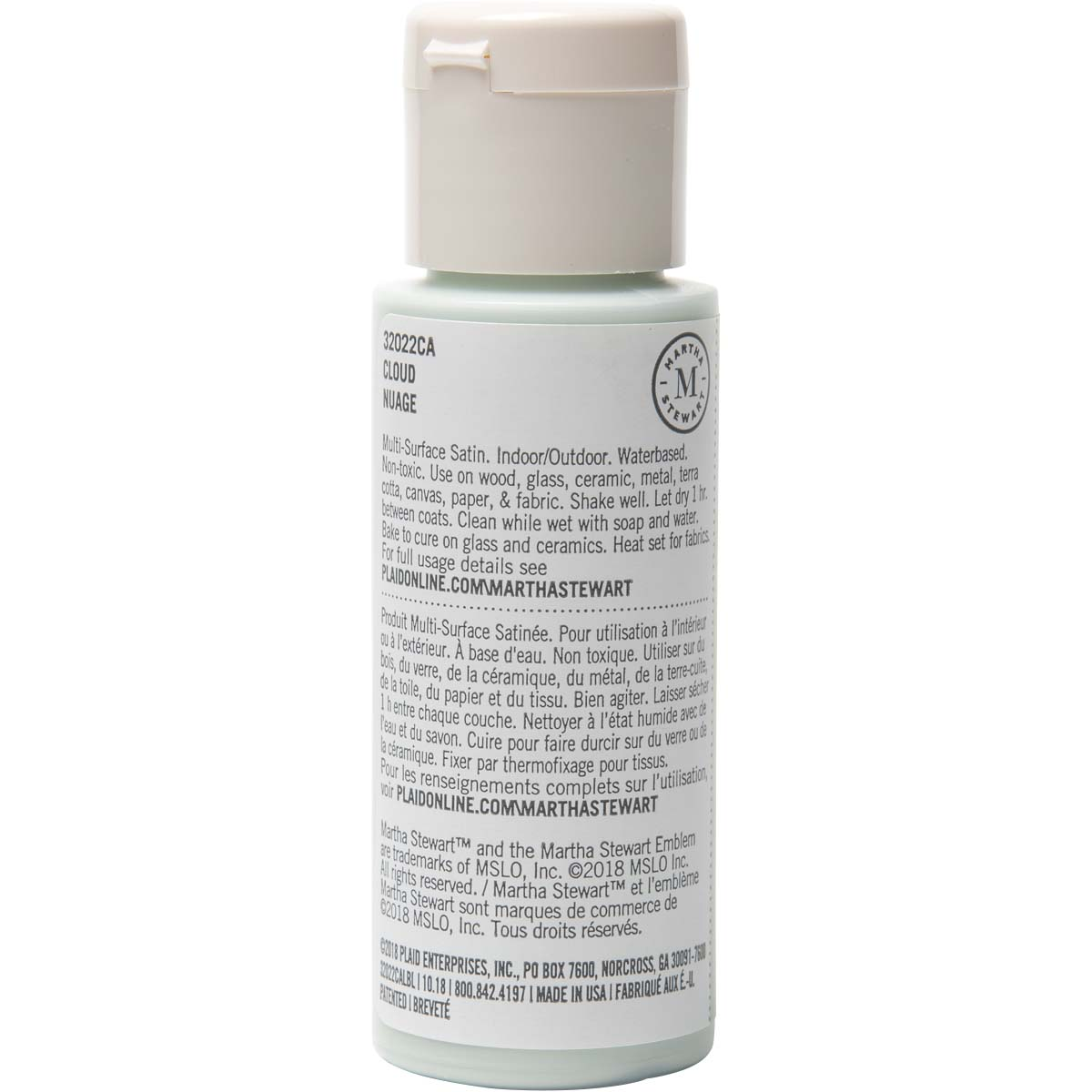Martha Stewart ® Multi-Surface Satin Acrylic Craft Paint - Cloud, 2 oz.