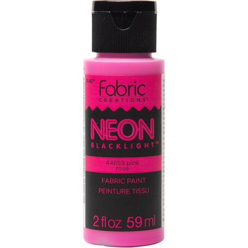 Fabric Creations™ Neon Black Light Fabric Paint - Pink, 2 oz.
