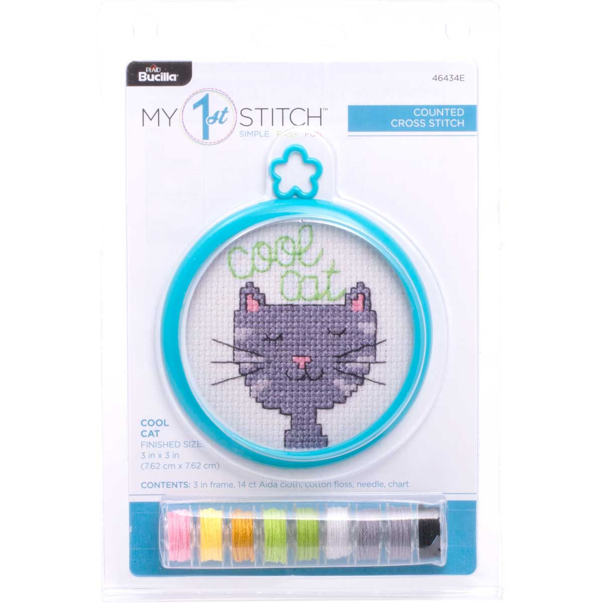 Bucilla ® My 1st Stitch™ - Counted Cross Stitch Kits - Mini - Cool Cat - WM46434E