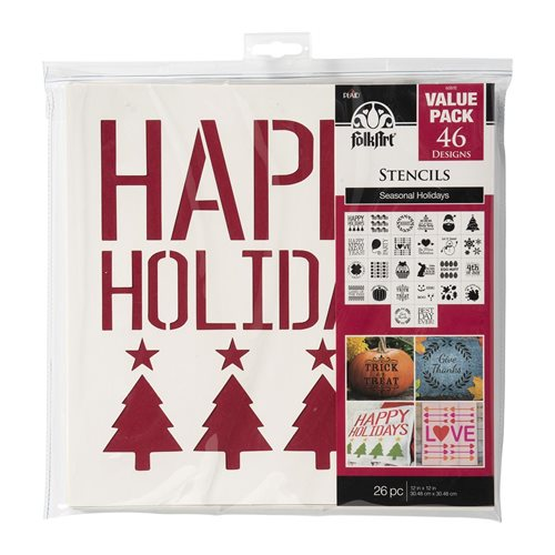 "FolkArt ® Stencil Value Packs - Holiday, 12"" x 12"""