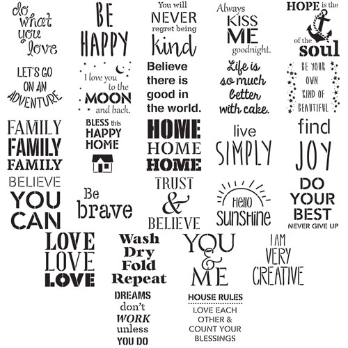 FolkArt ® Stencil Value Packs - Phrases, 12
