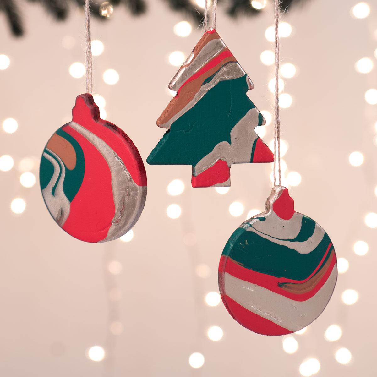 Paint Poured Ornaments