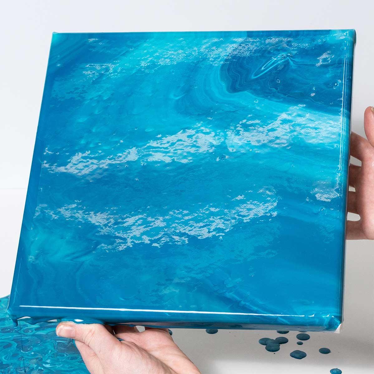 Blue Acrylic Pour on Canvas
