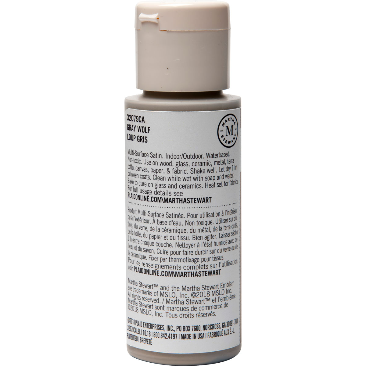 Martha Stewart ® Multi-Surface Satin Acrylic Craft Paint - Gray Wolf, 2 oz.