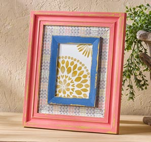 Coral and Blue Layered Frame