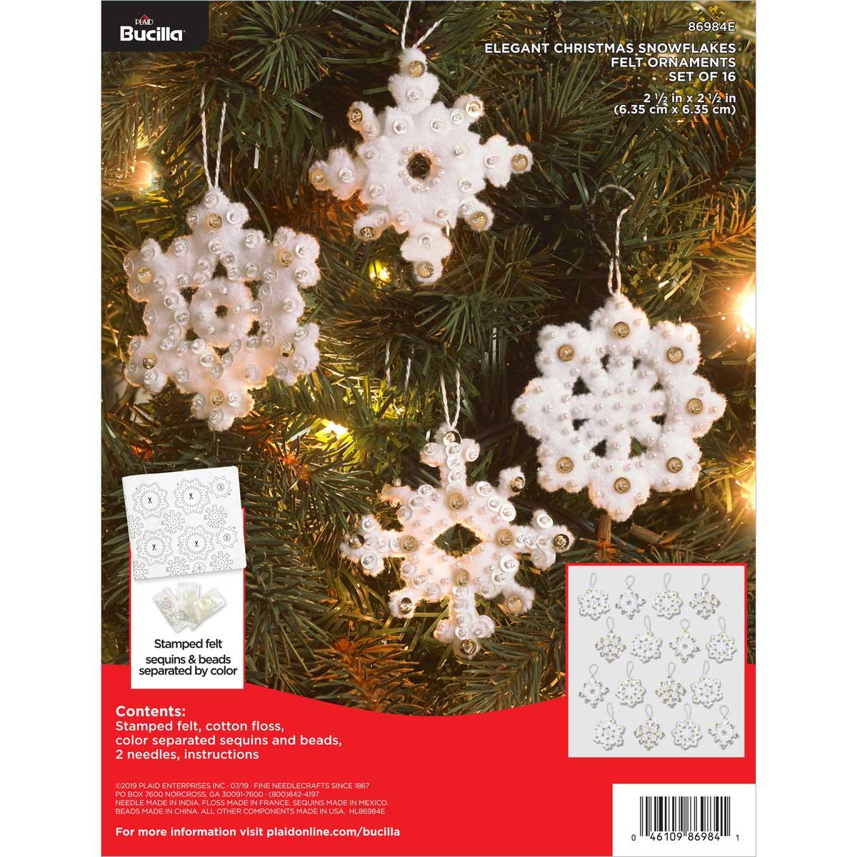 Bucilla ® Seasonal - Felt - Ornament Kits - Elegant Christmas Snowflakes - 86984E