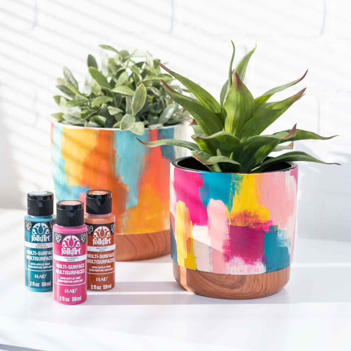 Abstract Painted Flower Pots
