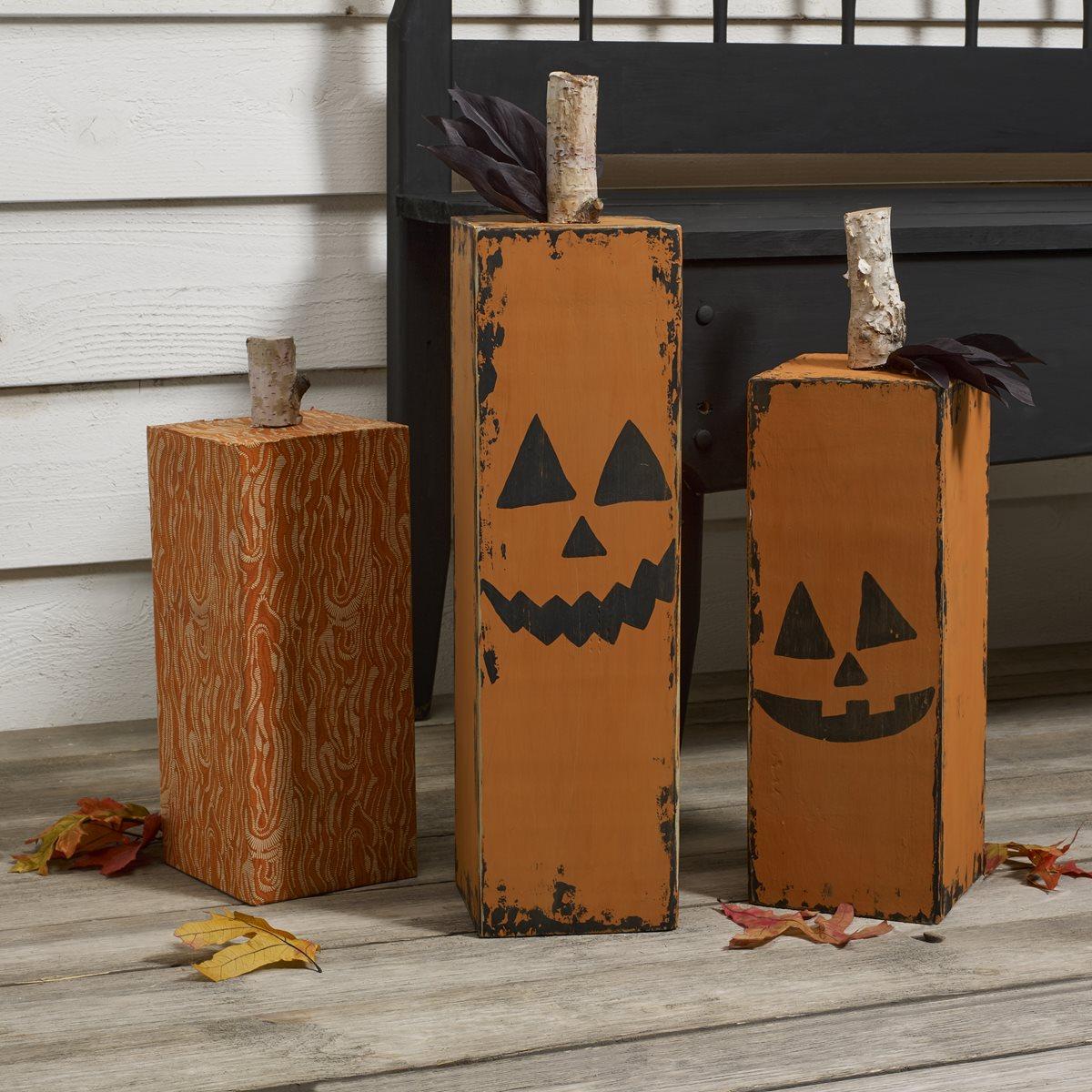 Wood Block Jack-o-Lanterns