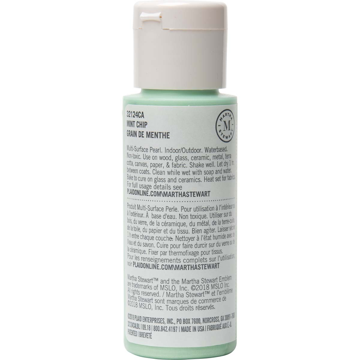 Martha Stewart ® Multi-Surface Pearl Acrylic Craft Paint - Mint Chip, 2 oz. - 32124CA