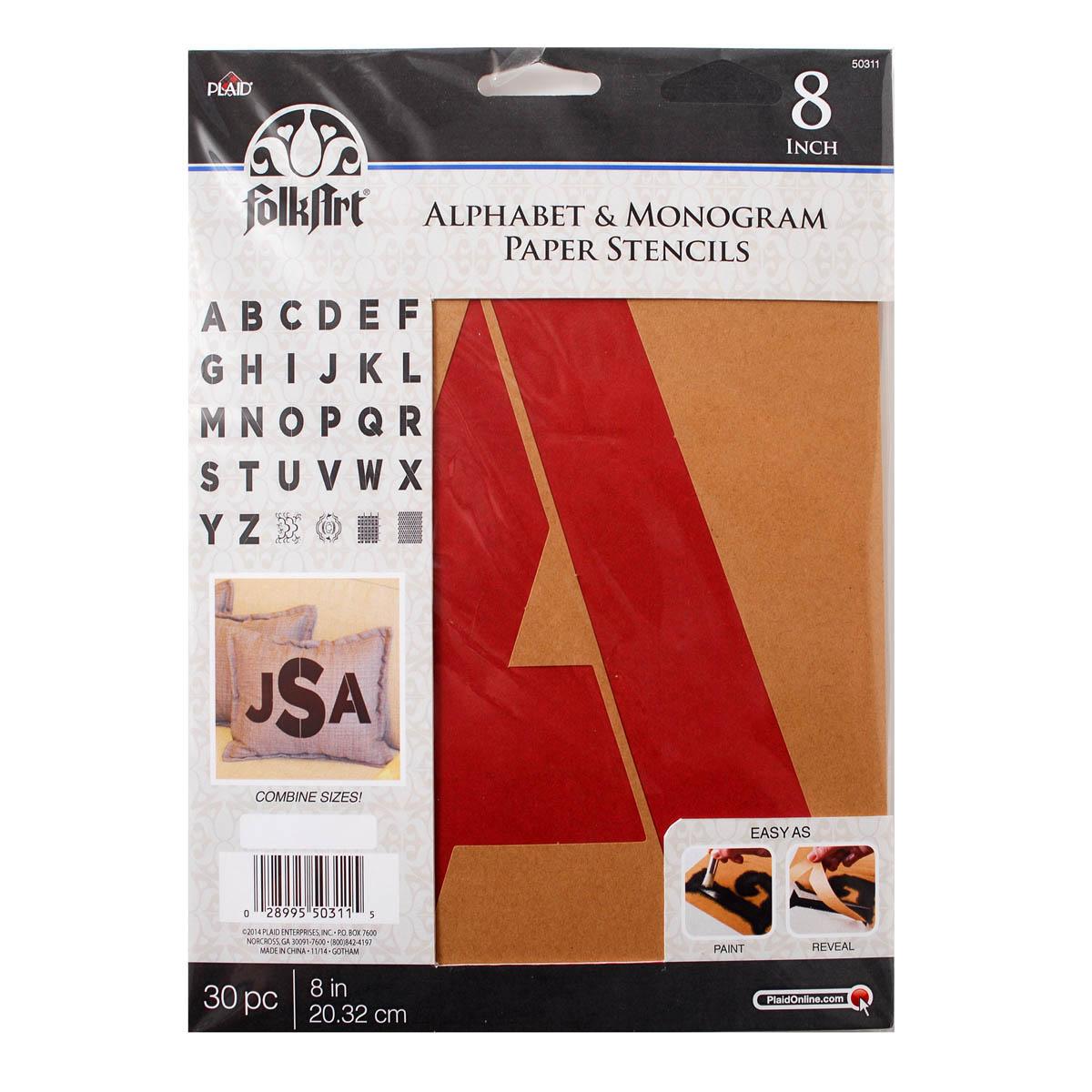 FolkArt ® Alphabet & Monogram Paper Stencils - Bold Font, 8