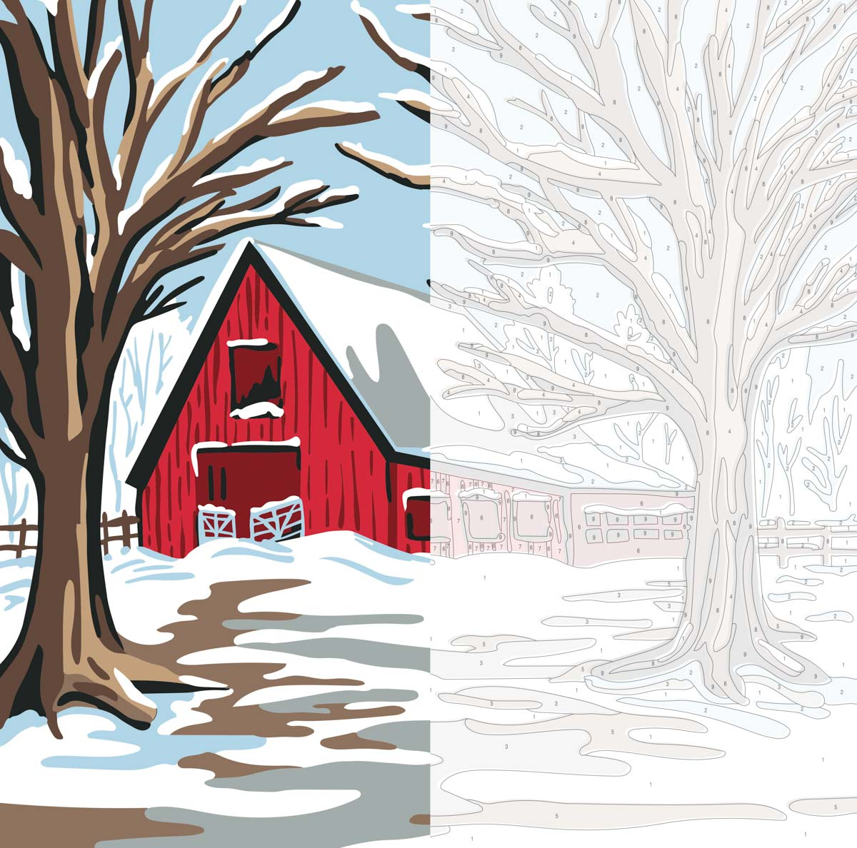 Plaid ® Let's Paint™ Modern Paint-by-Number - Winter Barn - 17919