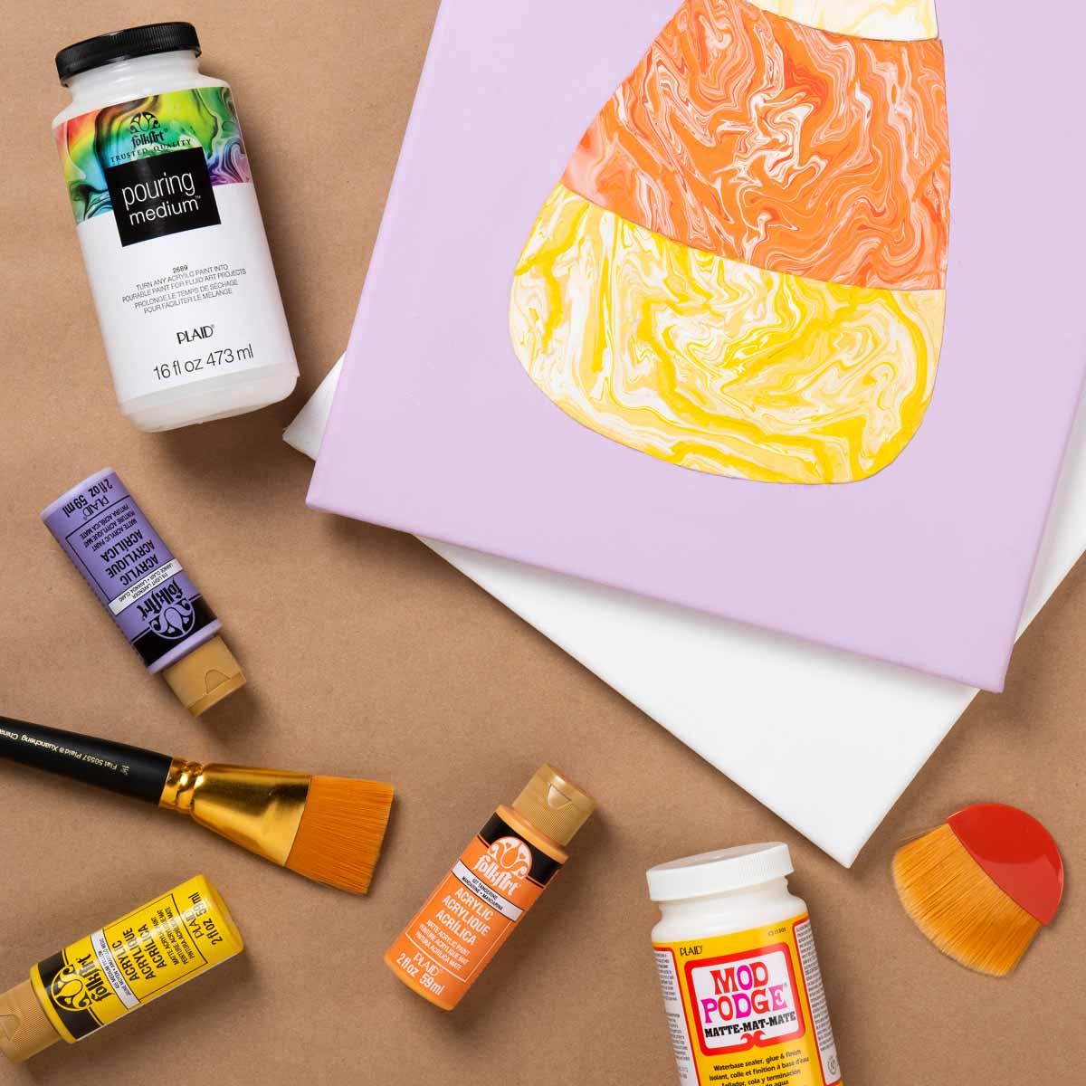 Candy Corn Paint Skin Pour