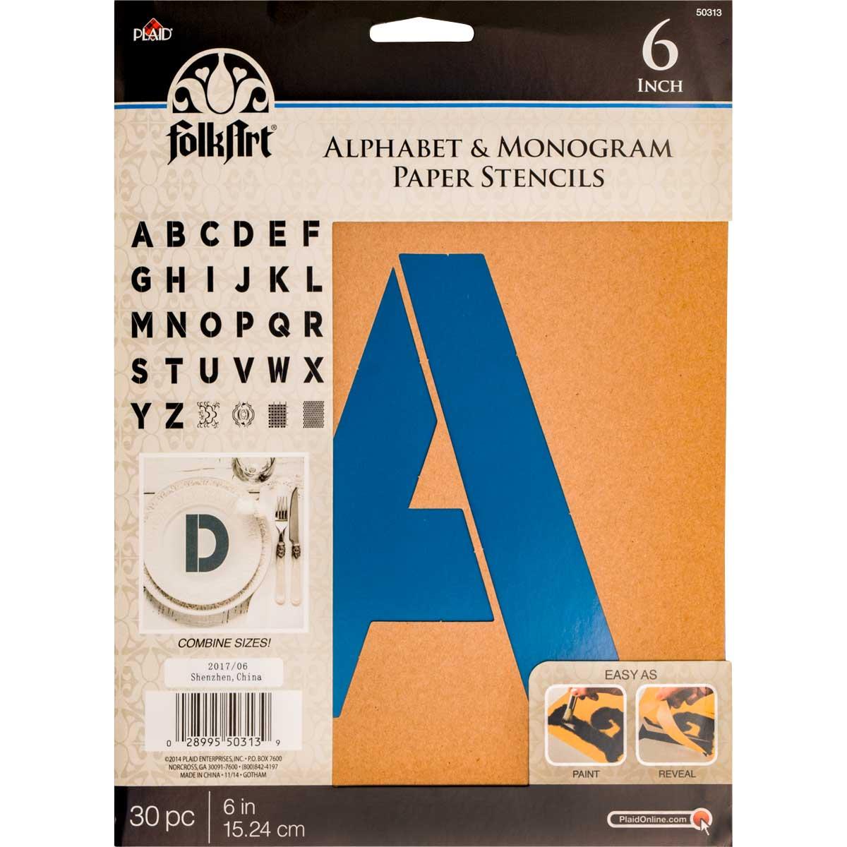 FolkArt ® Alphabet & Monogram Paper Stencils - Bold Font, 6