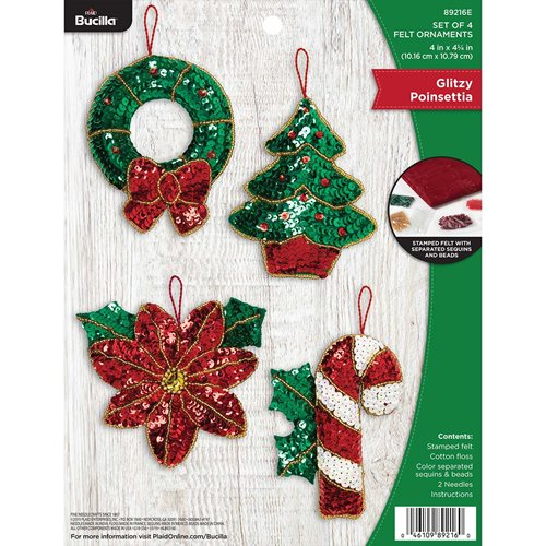 Bucilla ® Seasonal - Felt - Ornament Kits - Glitzy Poinsettia - 89216E