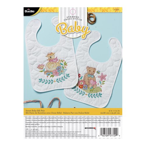 Bucilla ® Baby - Stamped Cross Stitch - Crib Ensembles - Sweet Baby - Bib Pair Kit
