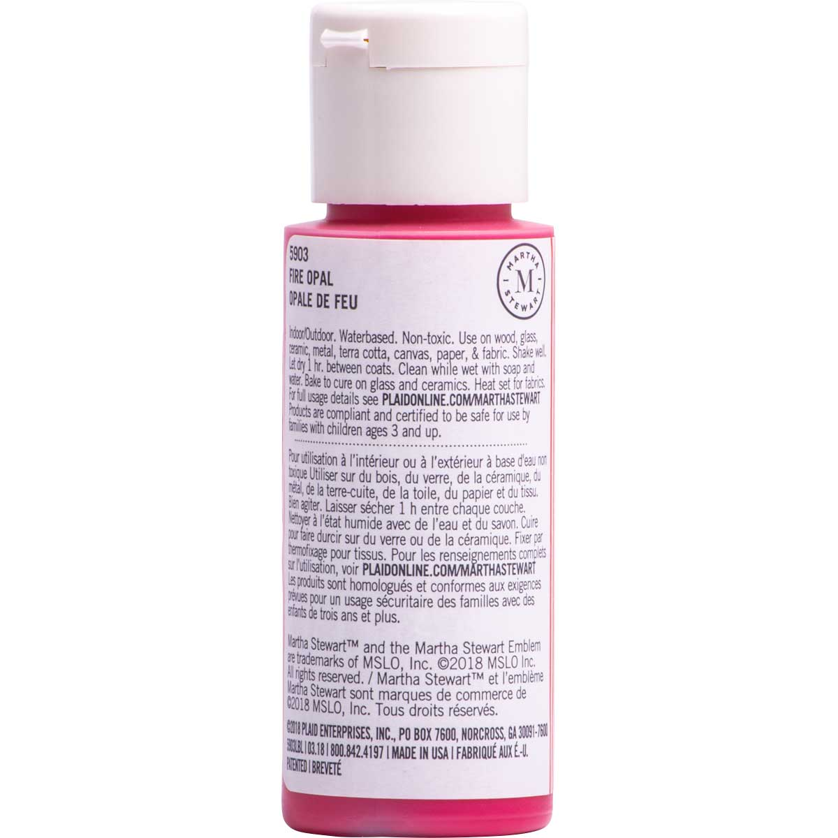 Martha Stewart ® Multi-Surface Satin Acrylic Craft Paint CPSIA - Fire Opal, 2 oz. - 5903