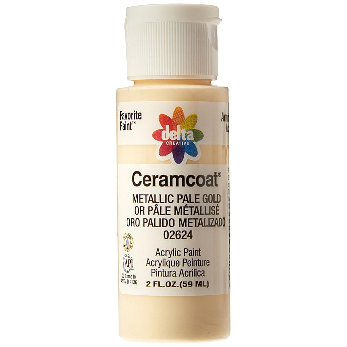 Delta Ceramcoat ® Acrylic Paint - Metallic Pale Gold, 2 oz.