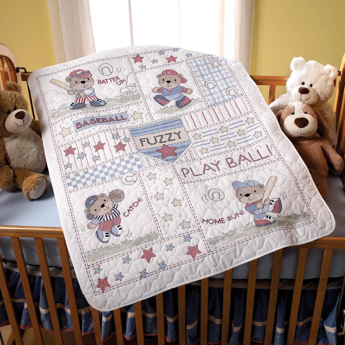 Bucilla ® Baby - Stamped Cross Stitch - Crib Ensembles - Baseball Buddies - Crib Cover