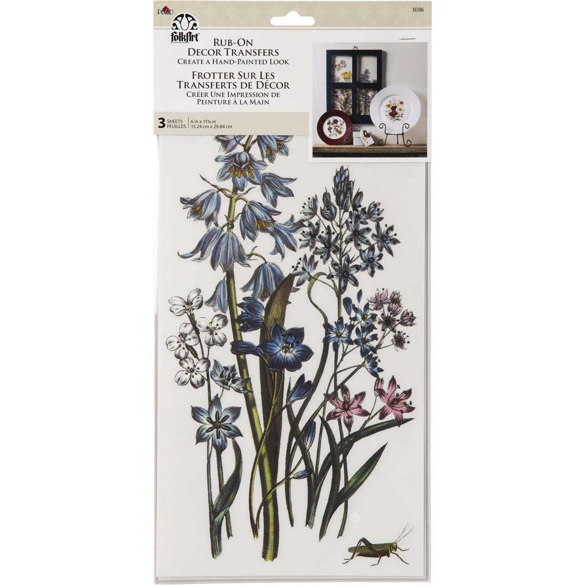 FolkArt ® Rub-On Décor Transfer - Botanical, 3 pc. - 36106