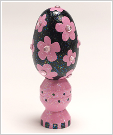 Sparkly Black Egg with Pink Flowers and Rhinestones