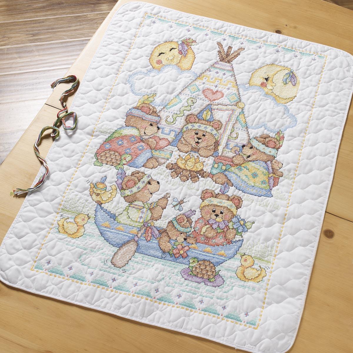 Bucilla Baby - Stamped Cross Stitch - Tee Pee Bears Crib Cover Kit