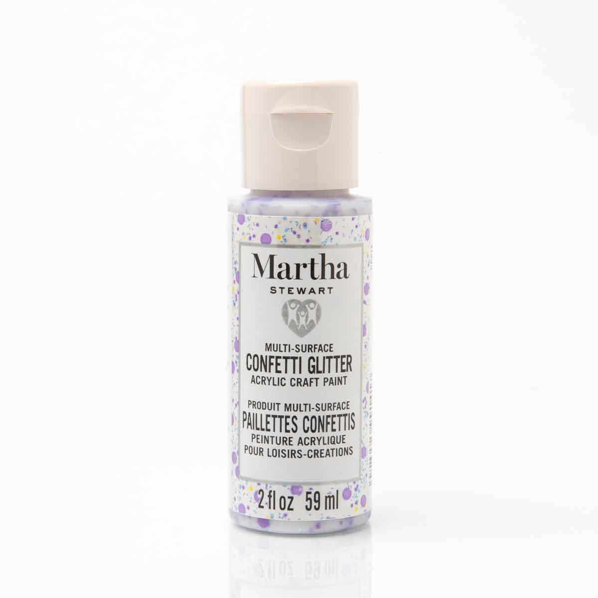 Martha Stewart ® Family Friendly Multi-Surface Confetti Glitter Acrylic Craft Paint 6-Color Set - MS
