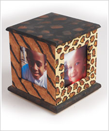 Animal Print Photo Cube