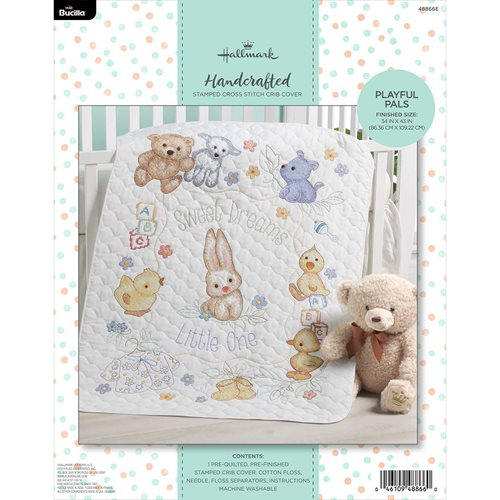 Bucilla ® Baby - Stamped Cross Stitch - Crib Ensembles - Hallmark - Playful Pals - Crib Cover