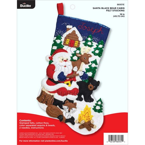 Bucilla ® Seasonal - Felt - Stocking Kits - Santa's Black Bear Cabin - 86931E