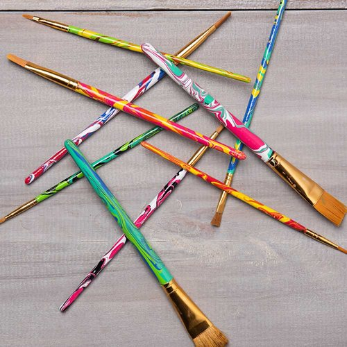 DIY Marbleized Paintbrushes