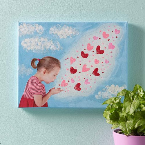 Blowing Kisses to Grandma Canvas