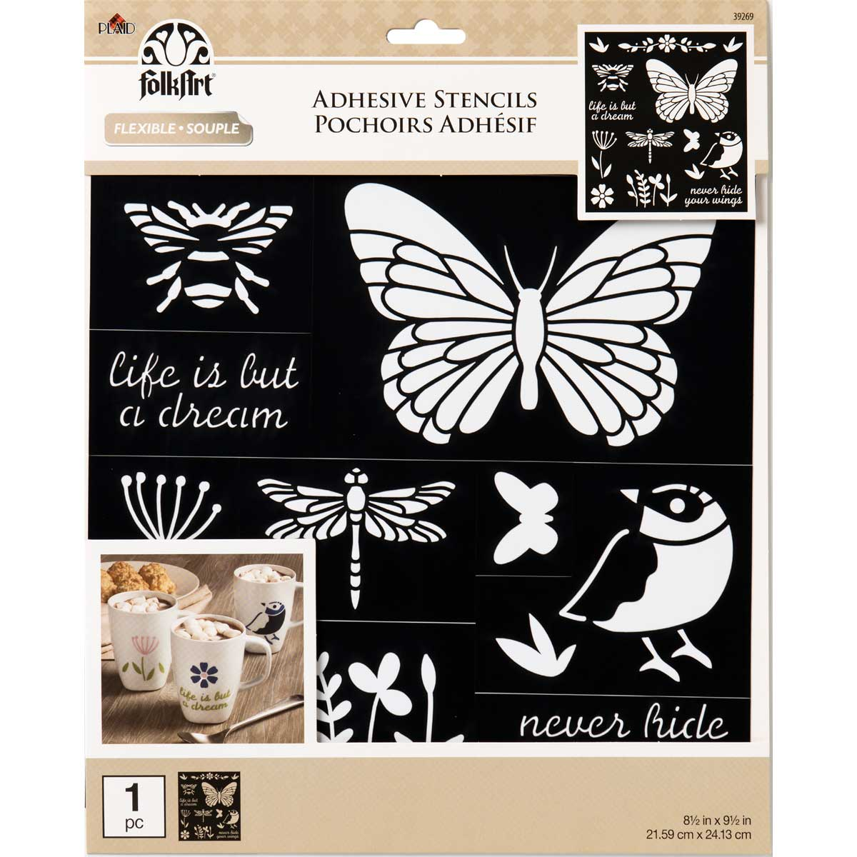 FolkArt ® Laser Cut Adhesive Stencils - Birds, Bees & More - 39269