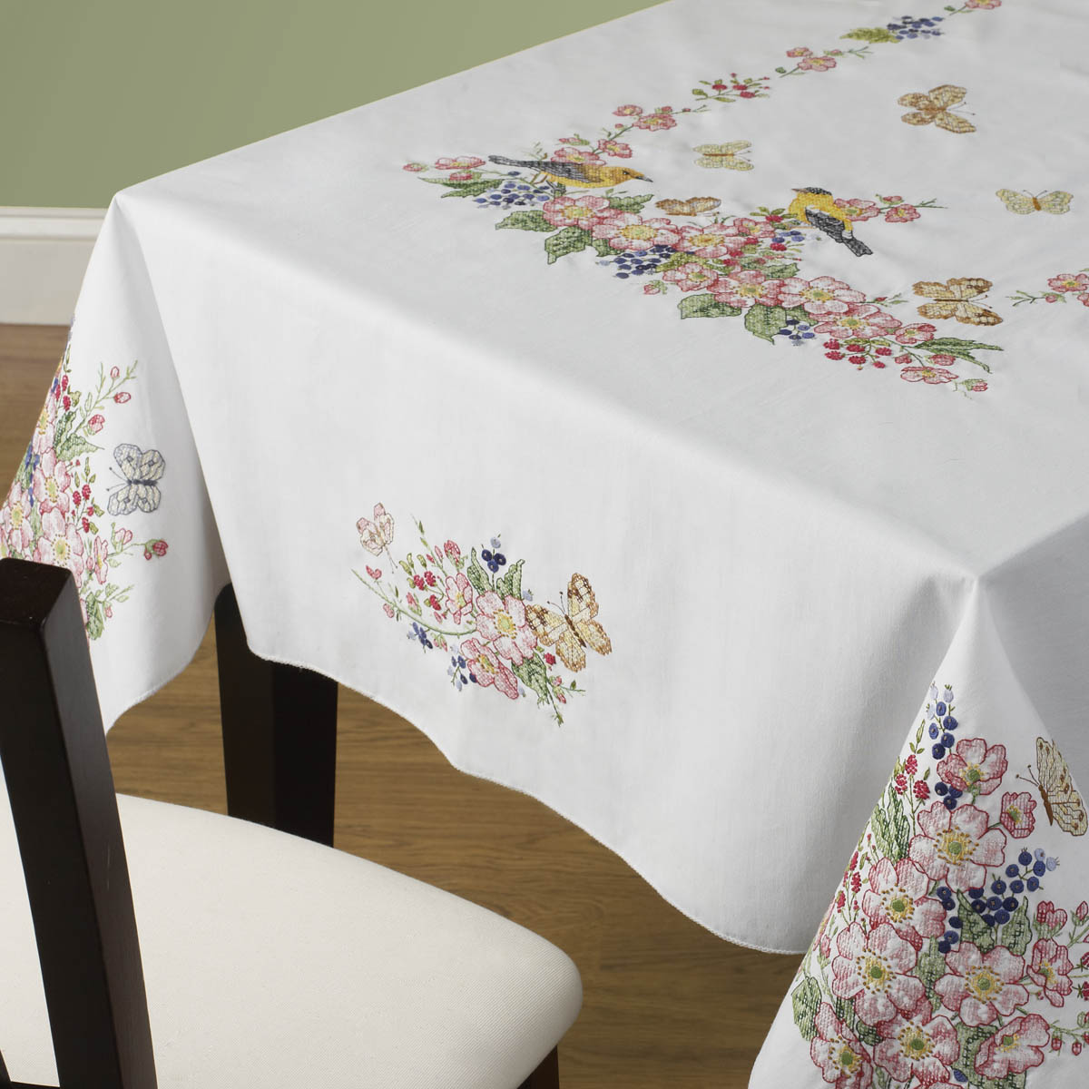 Bucilla ® Stamped Cross Stitch - Table Ensembles - Butterflies and Birds - Tablecloth, 60 x 90