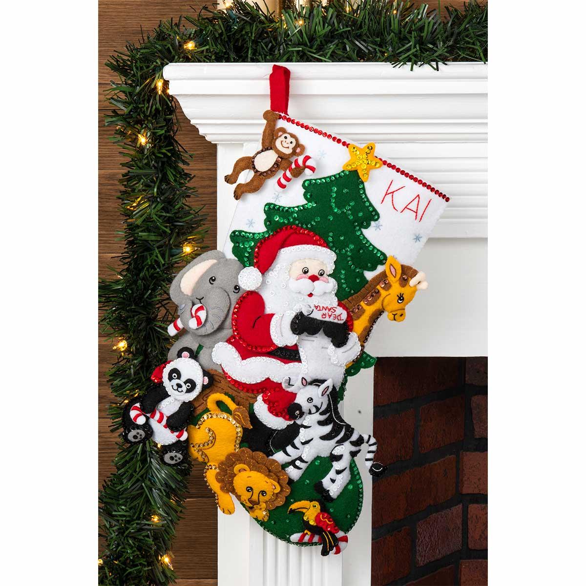 Bucilla ® Seasonal - Felt - Stocking Kits - Jungle Santa - 89235E
