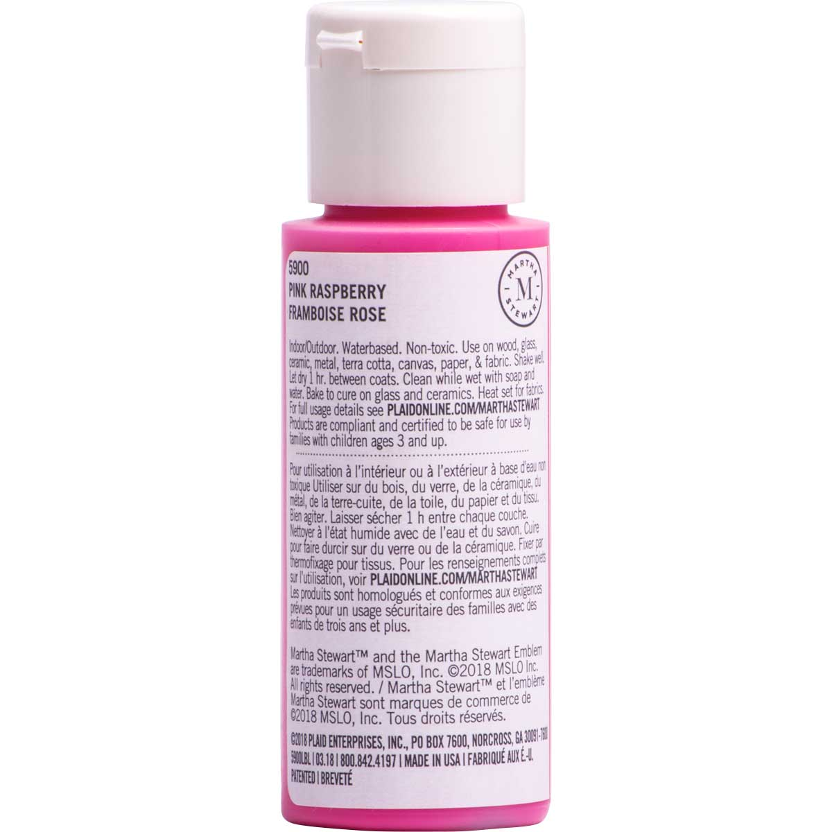 Martha Stewart ® Multi-Surface Satin Acrylic Craft Paint CPSIA - Pink Raspberry, 2 oz. - 5900